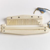 A bone comb with a case with a runic inscription saying