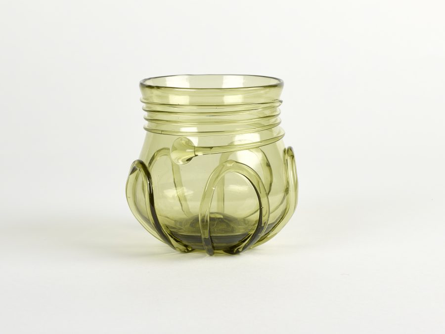 A green glass drinking vessel based on fragments from Northampton