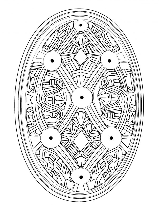 Drawing of an oval brooch from Adwick le Street, South Yorkshire