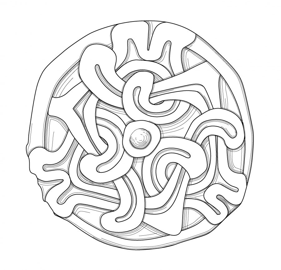 Drawing of a copper alloy, gilded disc brooch