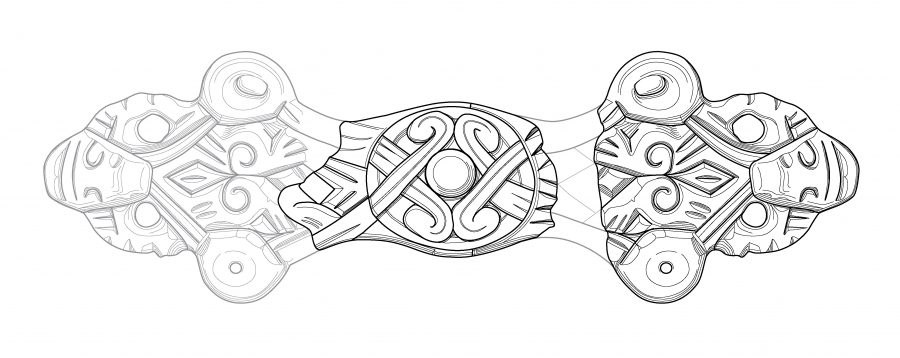 Drawing of an equal-armed brooch found in Harworth Bircotes, Nottinghamshire