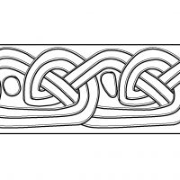 Detail drawing of knotwork on the side of the Hickling hogback