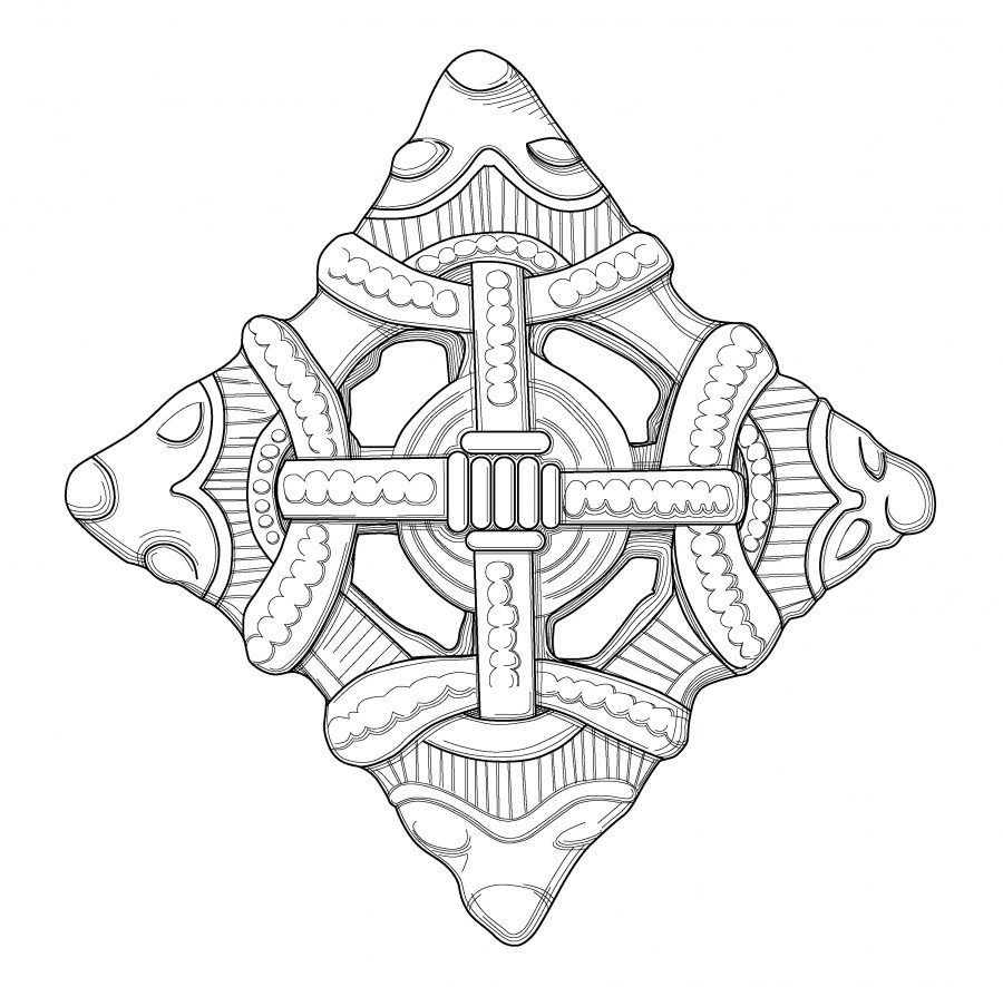 Drawing of a copper alloy lozenge brooch