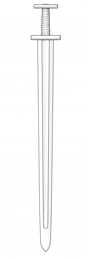 Drawing of a Viking sword from Repton