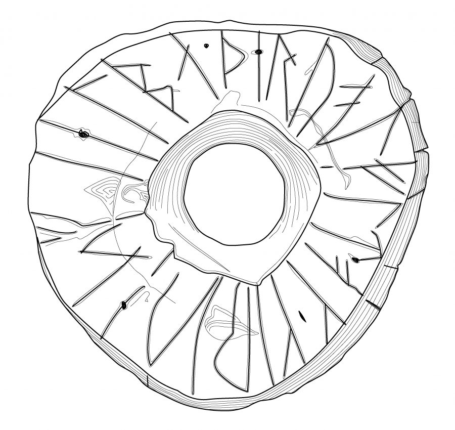 Drawing of the Saltfleetby spindle whorl