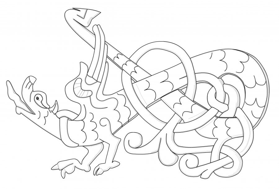 Drawing of detail from the Southwell tympanum