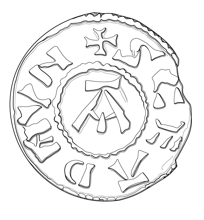 Drawing of a St Edmund memorial penny