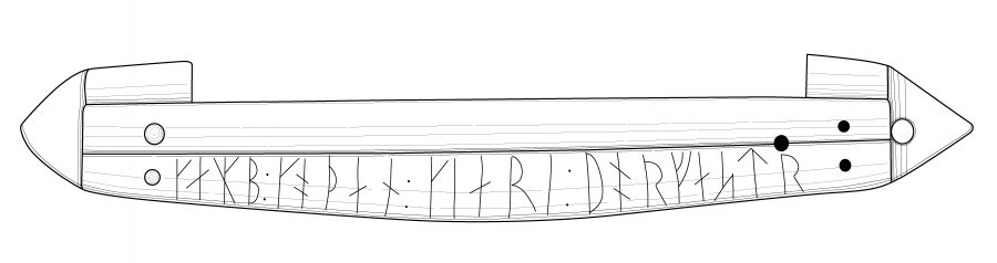 Drawing of the runic inscription on the Thorfast comb case from Lincoln
