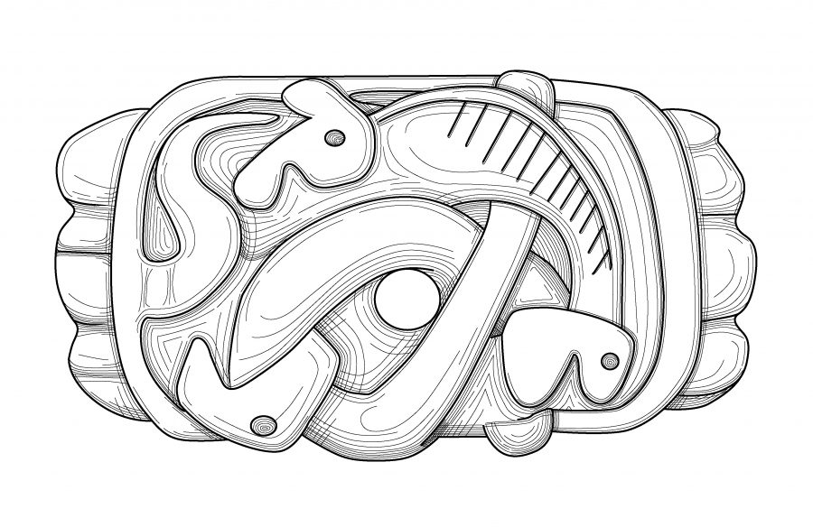 Drawing of an Urnes style sword fitting