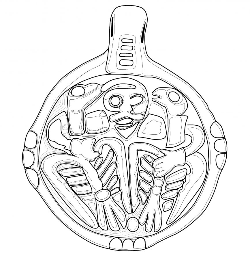 Drawing of a pendant featuring an image of Odin and his two ravens