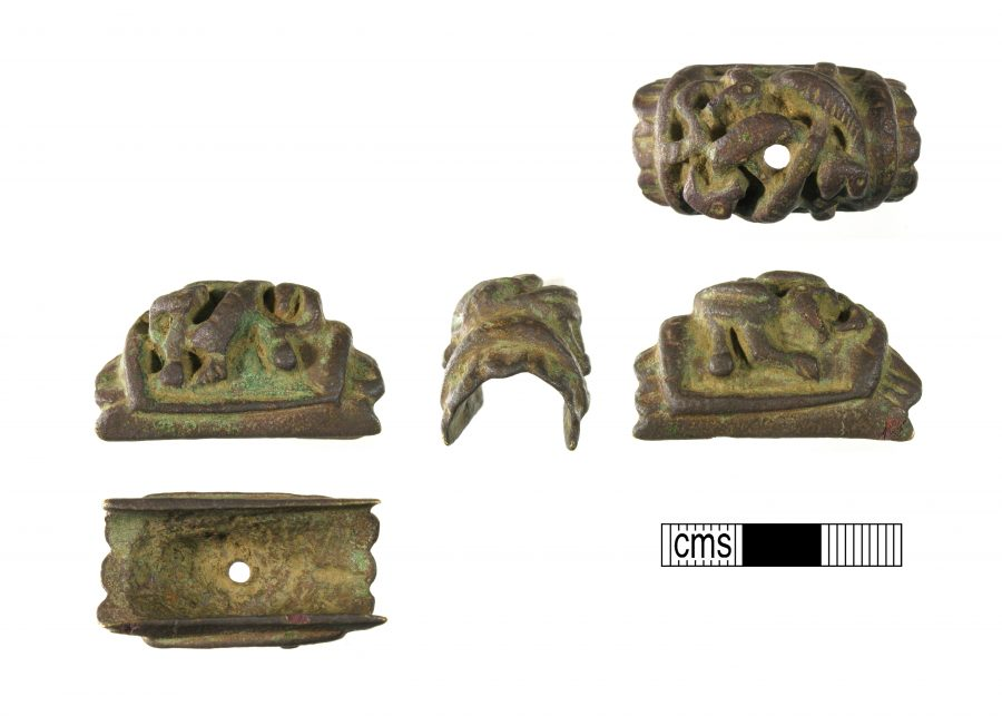 A copper alloy mount from a sword in the Urnes style