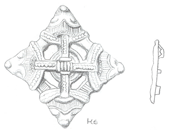 A lozenge style brooch in the Borre style found in Lincolnshire. (c) Portable Antiquities Scheme, CC BY-SA 4.0