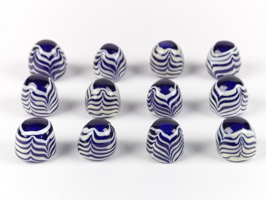 Reproduction blue and white glass gaming pieces