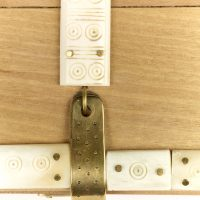 Detail of hasp on reproduction wooden box