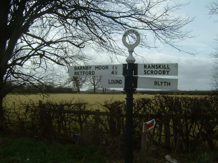 Signpost showing Barnby Moor, Retford, Lound, Ranskill, Scrooby and Blyth © Judith Jesch