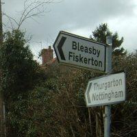 Signpost showing Bleasby, Fiskerton, Thurgarton and Nottingham © Judith Jesch
