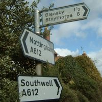 Signpost showing Bleasby, Staythorpe, Nottingham and Southwell