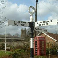 Signpost showing Fiskerton, Southwell, Staythorpe, Newark and Rolleston Station © Judith Jesch
