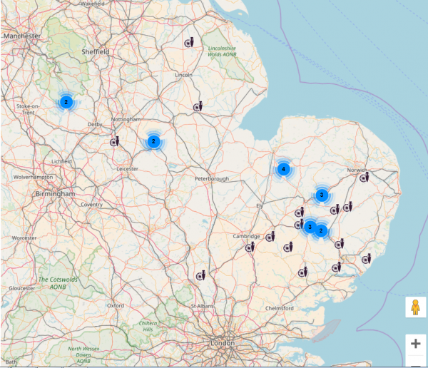Distribution of St Edmund memorial pennies on PAS (Cumbria example not mapped) (c) Portable Antiquities Scheme