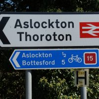 Signposts showing Aslockton, Thoroton, Bottesford