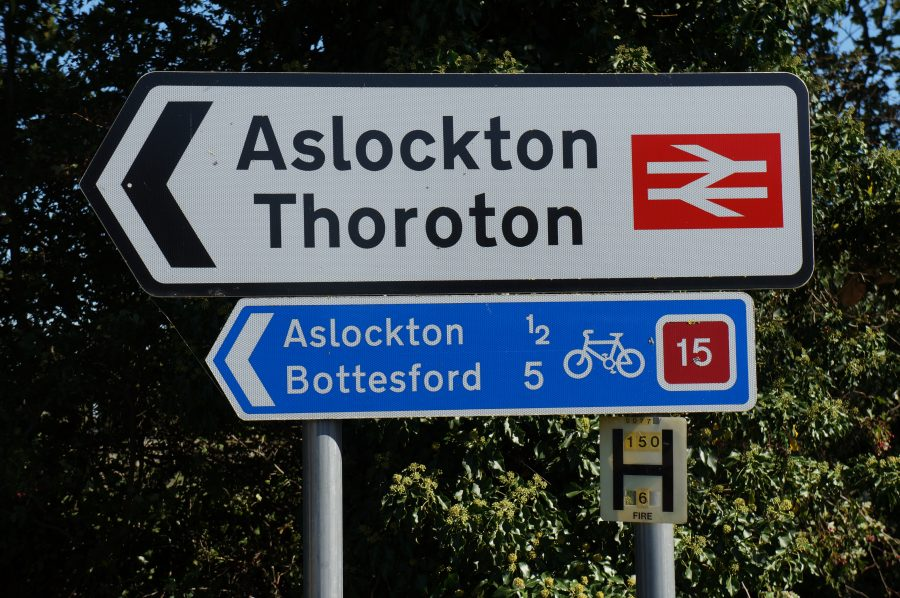 Signposts showing Aslockton, Thoroton, Bottesford