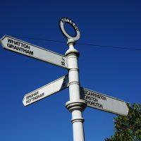 Signpost showing Whatton, Grantham, Bingham, Nottingham, Scarrington, Orston, Thoroton