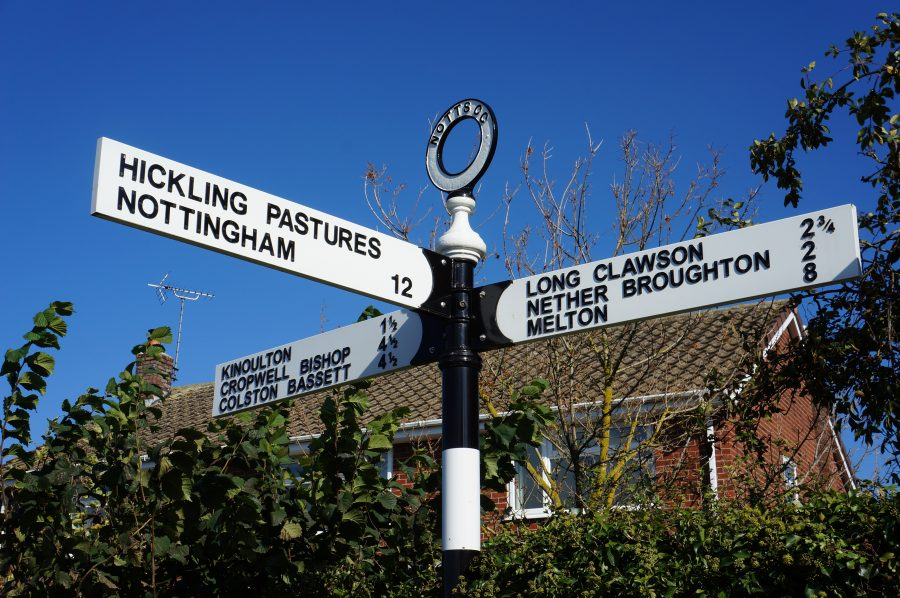 Signpost showing Hickling Pastures, Nottingham, Kinoulton, Cropwell Bishop, Colston Bassett, Long Clawson, Nether Broughton, Melton