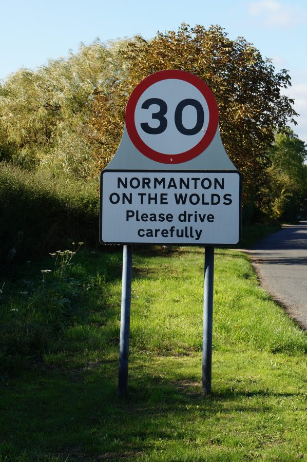 Village sign of Normanton on the Wolds