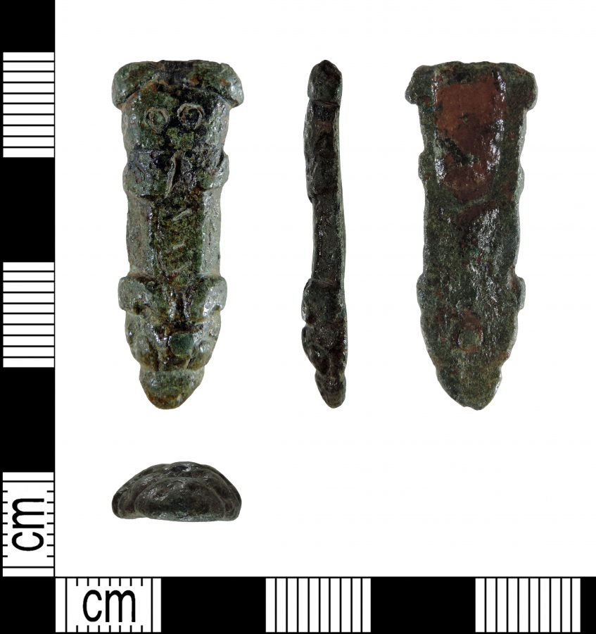 A copper alloy zoomorphic strap end found in Thrumpton, Nottinghamshire. (c) Portable Antiquities Scheme, CC BY-SA 2.0