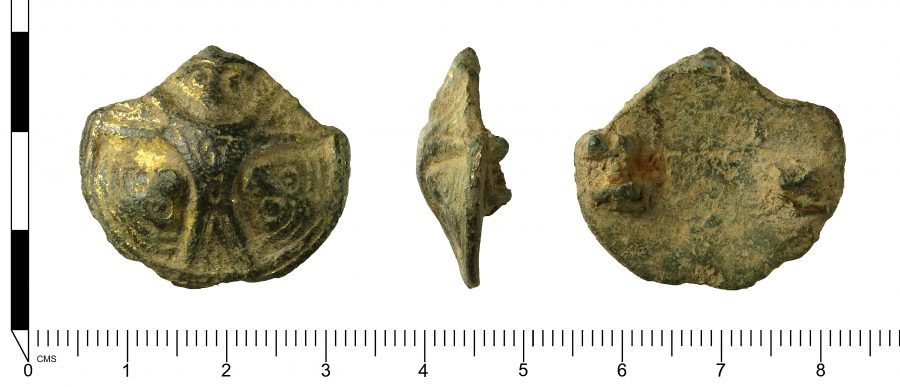 A Late Early Medieval Scandinavian (Viking) copper alloy Borre-style convex disc brooch. Found in Ranskill, Nottinghamshire. (c) Portable Antiquities Scheme, CC BY-SA 2.0