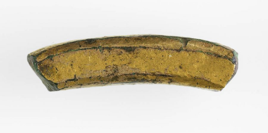 Fragment of a curved section of gilt copper-alloy found in Torksey, Lincolnshire. © The Fitzwilliam Museum, Cambridge