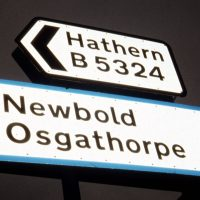 Image of road sign including the name Osgathorpe