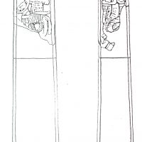 Drawing of Faces A and B of the Repton Stone. (c) Derby Museums and Art Gallery