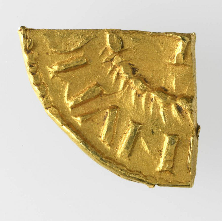 A quarter of an imitation Carolingian gold solidus found near Torksey, Lincolnshire. © The Fitzwilliam Museum, Cambridge