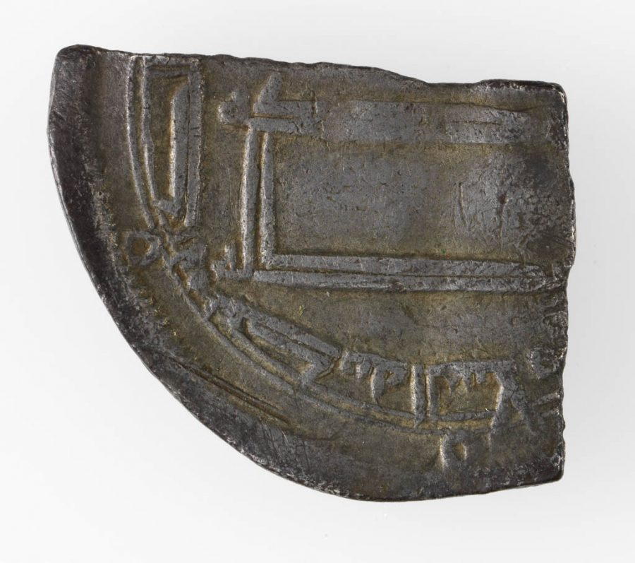 A fragment of an Arabic silver dirham found in Torksey, Lincolnshire. © The Fitzwilliam Museum, Cambridge