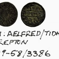 Coin of Alfred the Great found at Repton. Minted by Tidhelm. (c) Derby Museums 2019