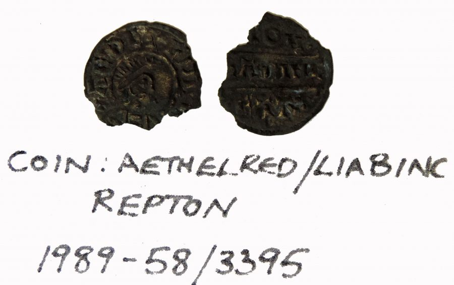 Coin of Alfred the Great found at Repton. Minted by Liabinc. (c) Derby Museums 2019