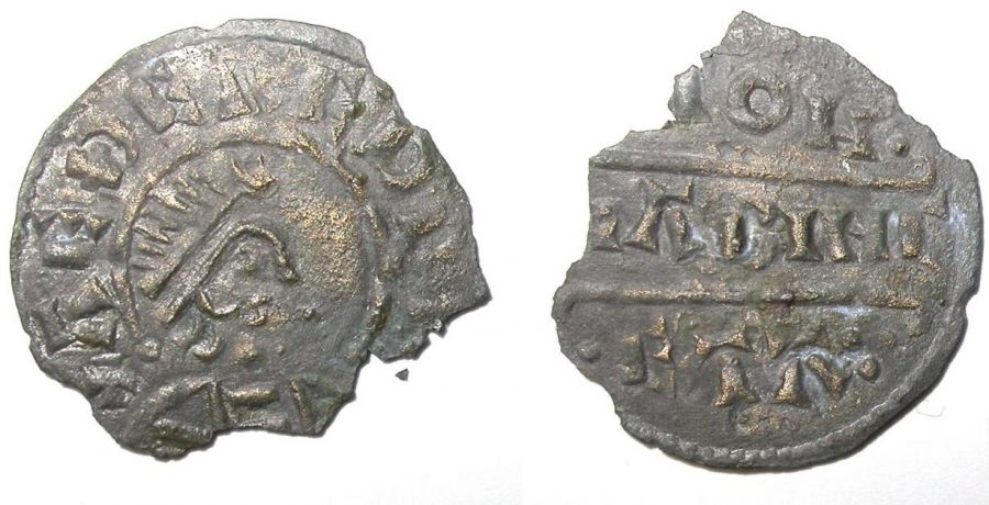 Coin of Aethelred found at Repton. Minted by Liabinc. (c) Derby Museums 2019