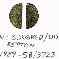 Coin of Burghred minted by Dudda found at Repton (c) Derby Museums 2019