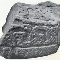 A recumbent grave marker of the type known as a hogback found near St. Alkmund's church in Derby, Derbyshire. (c) Derby Museum and Art Gallery