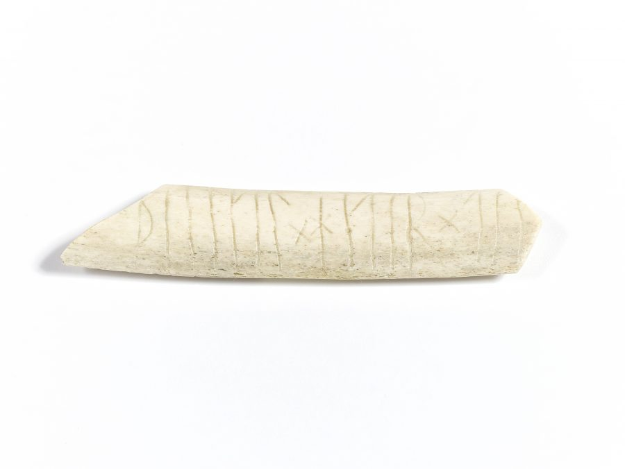 Reproduction of a cow's rib with runic inscription from St Benedict's Square, Lincoln. (c) Centre for the Study of the Viking Age
