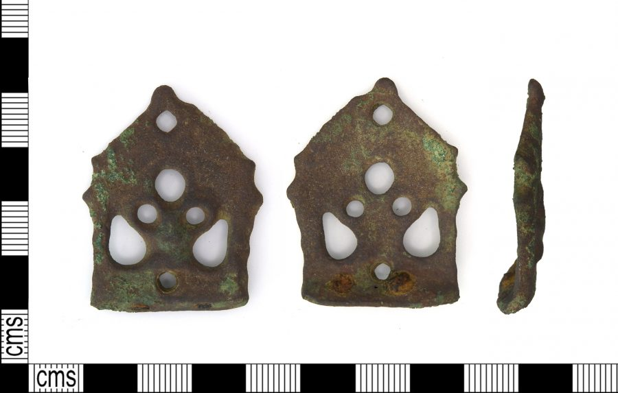 A copper-alloy stirrup mount found near Brooke, Rutland. (c) Portable Antiquities Scheme, CC BY-SA 2.0