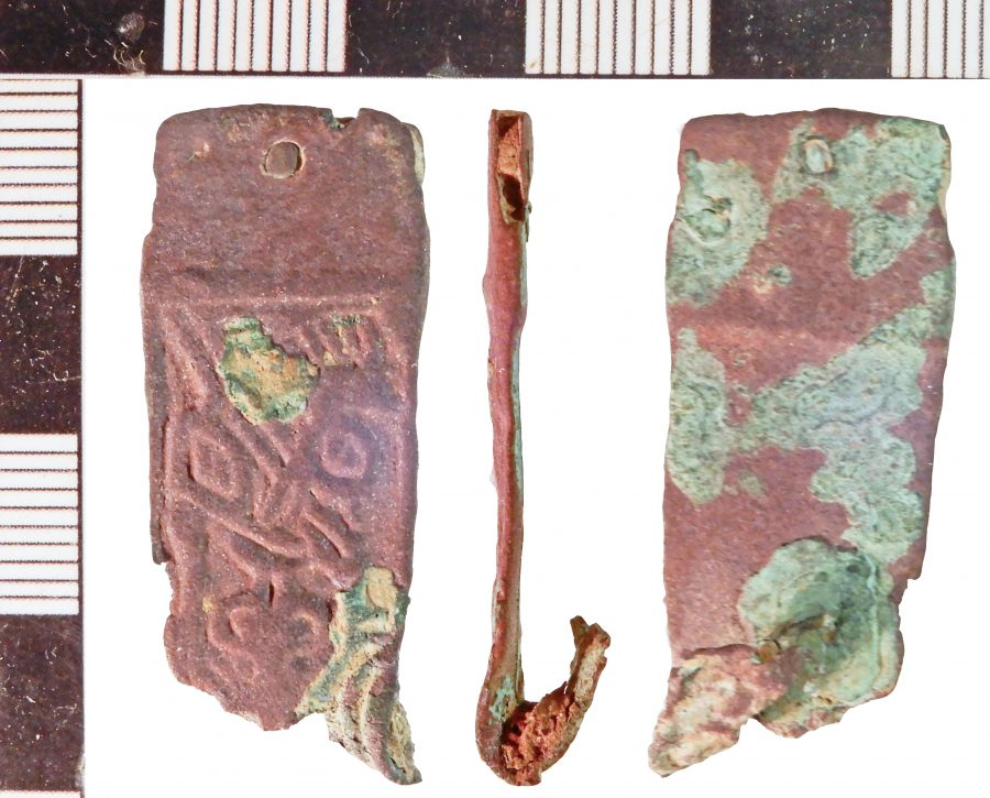 A copper-alloy strap-end found near Brookenby, Nottinghamshire. (c) Portable Antiquities Scheme, CC BY-SA 2.0