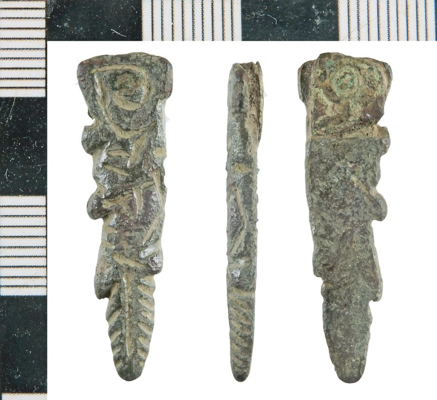 A copper-alloy Anglo-Scandinavian strap-end found near Epworth, Lincolnshire. (c) Portable Antiquities Scheme, CC BY-SA 2.0