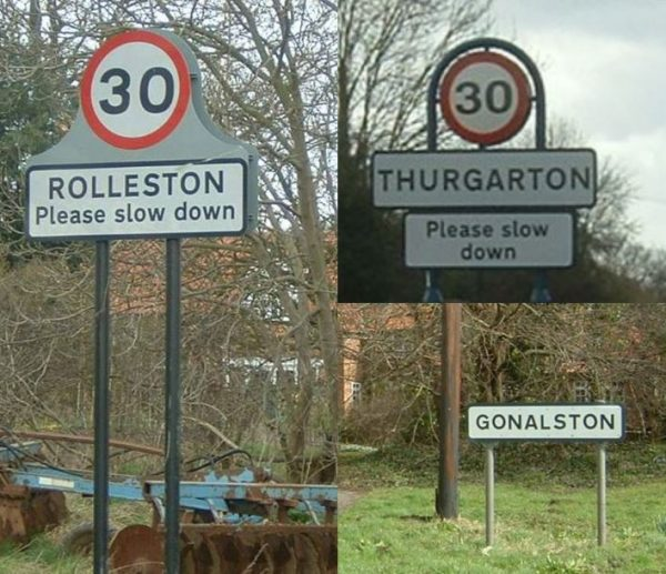 Signs for Rolleston, Thurgarton, and Gonalston © Judith Jesch