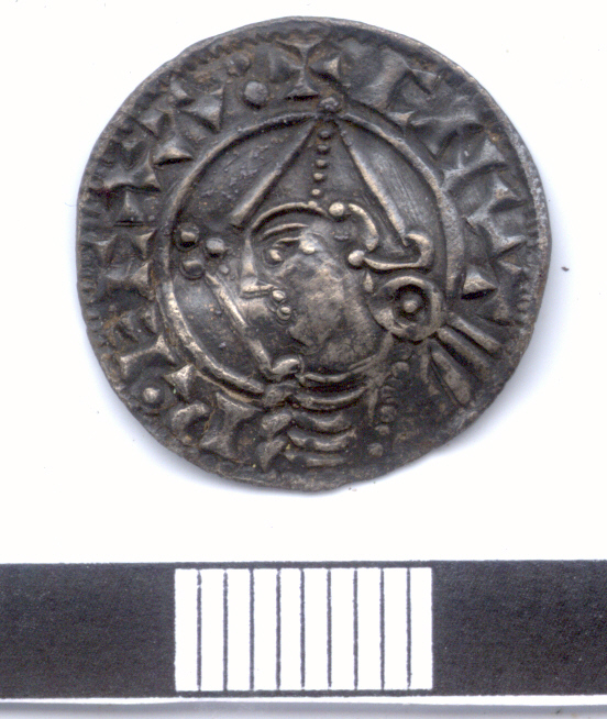 A silver penny of Cnut found near Claybrooke Magna, Leicestershire. (c) Portable Antiquities Scheme, CC BY-SA 4.0