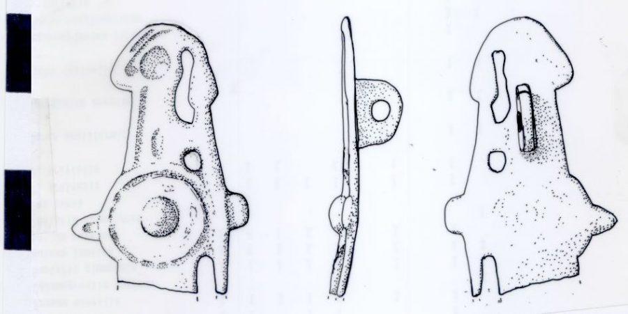 A 'warrior' shaped copper alloy brooch found near Exton, Rutland. (c) Portable Antiquities Scheme, CC BY-SA 4.0